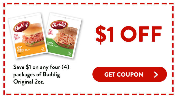Save 1 dollar on any 4 packages of Buddig Original 2 ounces